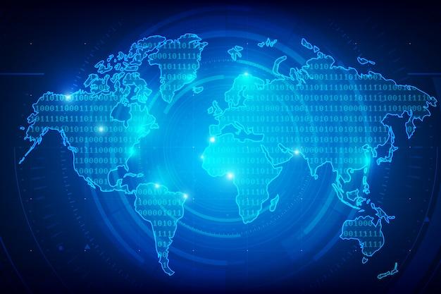 Trama del mondo di sfondo trama di cifre binarie Vettore Premium