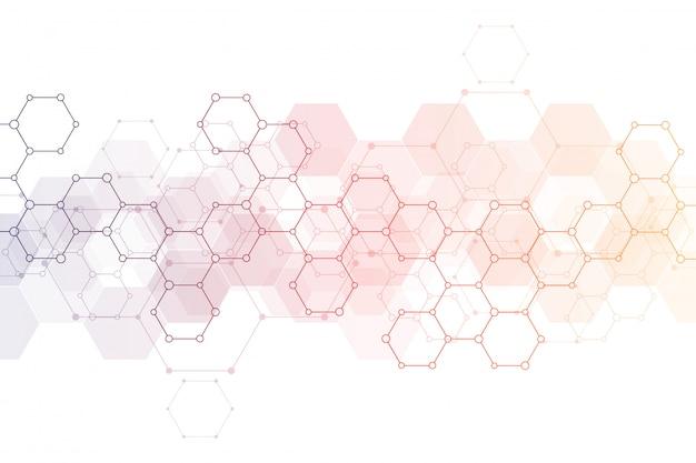 Trama di sfondo geometrico con strutture molecolari e ingegneria chimica Vettore Premium
