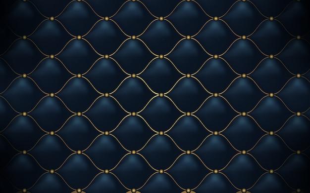 Trama in pelle astratto modello poligonale lusso blu scuro con oro Vettore Premium