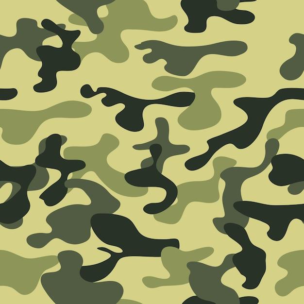 Trama mimetica militare ripete la caccia verde militare senza soluzione di continuità. Vettore Premium