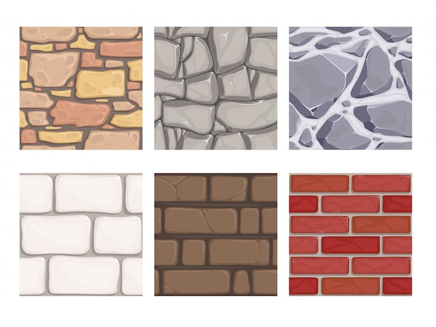 Trame di giochi da parete. carta da parati a terra senza cuciture delle pietre della terra della roccia Vettore Premium