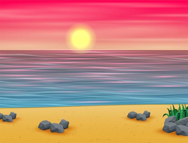 Tramonto estivo rosa sulla spiaggia tropicale Vettore Premium