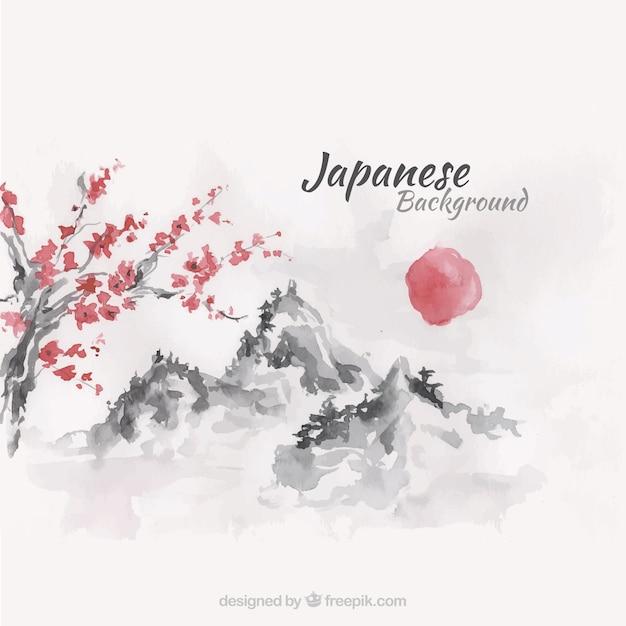 Tramonto giapponese sfondo paesaggio in effetto acquerello Vettore gratuito