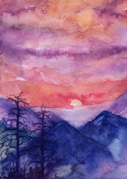 Tramonto in montagna, illustrazione dell'acquerello Vettore Premium