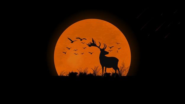 Tramonto sul campo, silhouette di cervi, uccelli ed erba Vettore Premium