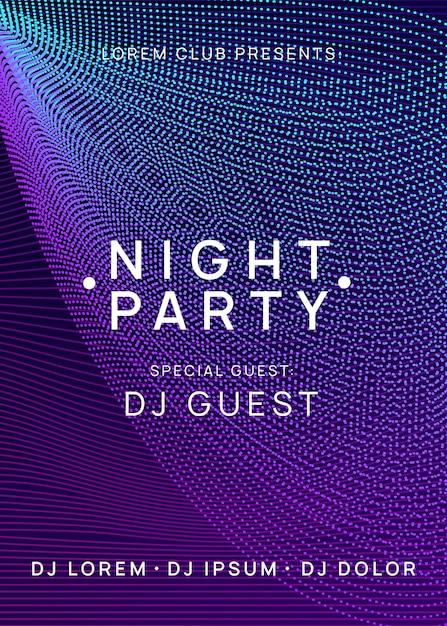 Trance party dj neon flyer sound fest. Vettore Premium