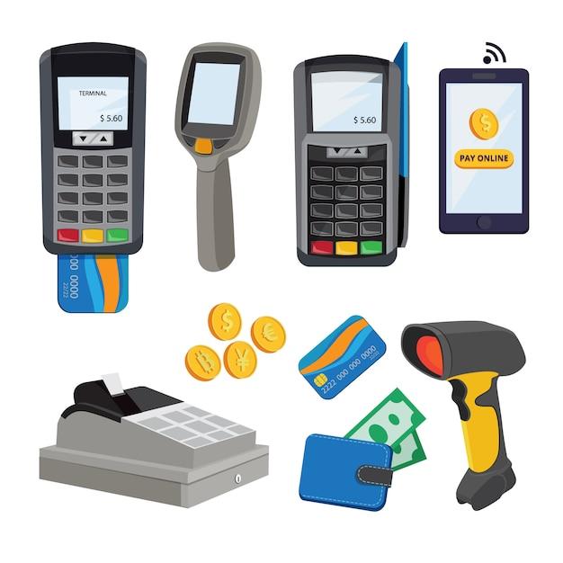 Transazione elettronica e elaborazione del trasferimento con illustrazione di carte o smartphone Vettore Premium