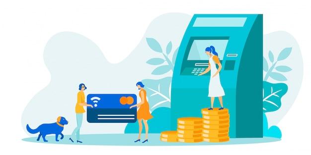 Transazioni finanziarie utilizzando l'illustrazione atm Vettore Premium