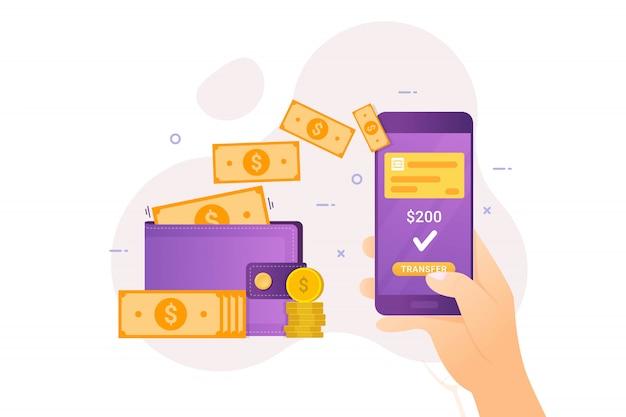 Trasferimento di denaro online con mobile banking Vettore Premium