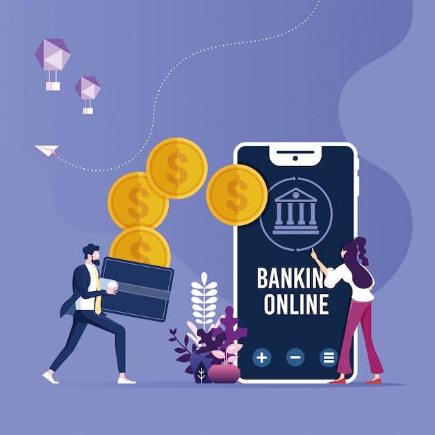 Trasferimento di denaro online, concetto di pagamenti mobili con smartphone e portafoglio Vettore Premium