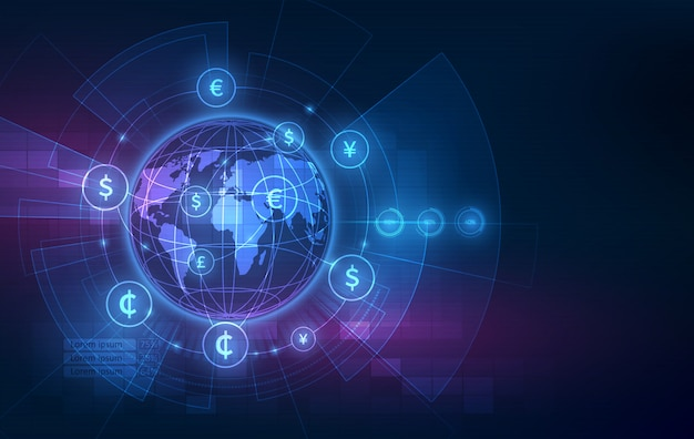 Trasferimento di denaro. valuta globale. borsa valori. Vettore Premium