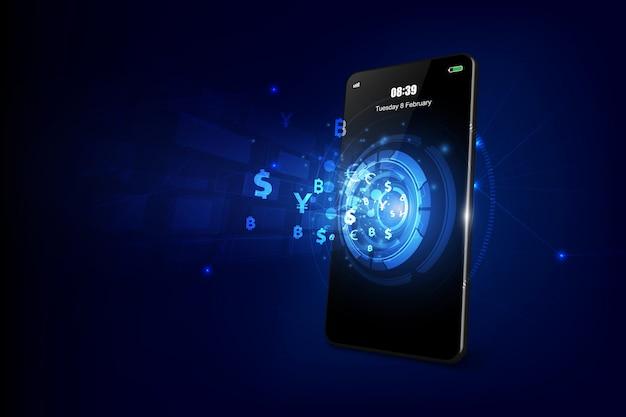 Trasferimento di valuta internazionale, pagamento tramite smartphone utilizzando uno smartphone illustrazione vettoriale del concetto di denaro Vettore Premium