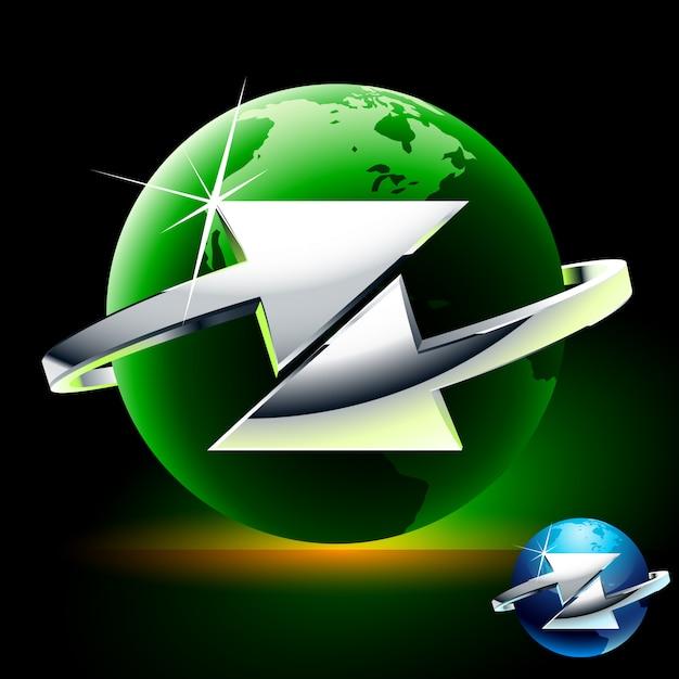 Trasferimento o scambio. il simbolo astratto con le frecce si è spostato del globo verde Vettore Premium