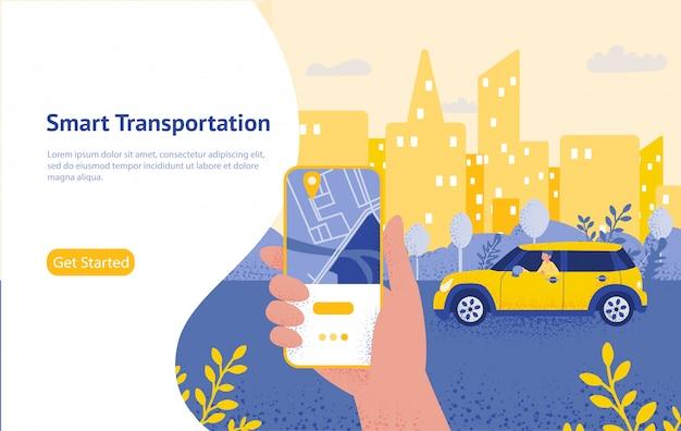 Trasferimento online con smartphone che tiene la mano e premere il pulsante di invio, modello, web, poster, banner, app mobile, ui. Vettore Premium