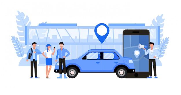 Trasferire servizi di trasporto. set di caratteri. Vettore Premium