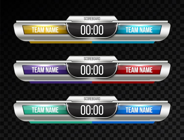 Trasmissione sportiva di tabelloni digitali Vettore Premium