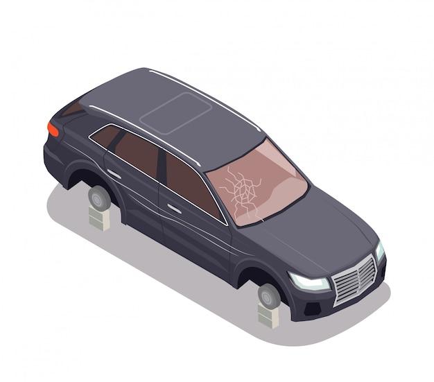 Trasporti la composizione con l'automobile nera senza gomme e con lo schermo del vento rotto su fondo bianco 3d isometrico Vettore gratuito