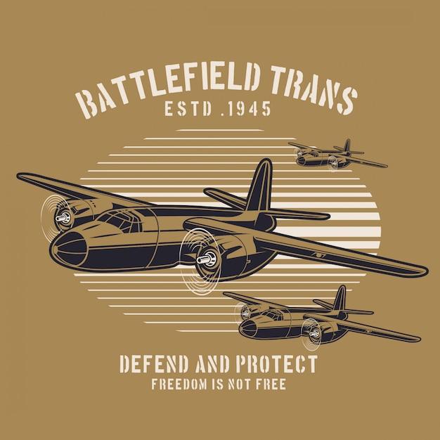 Trasporto aereo da battaglia Vettore Premium
