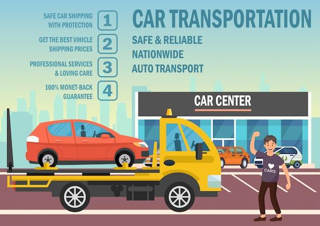 Trasporto auto. vector piatta illustrazione. Vettore Premium
