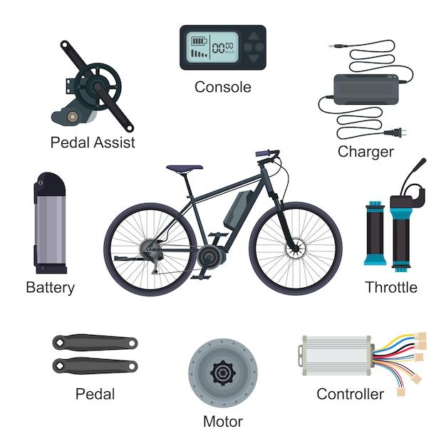 Trasporto della bici elettrica di vettore della bici elettrica con l'insieme ecologico dell'illustrazione di energia di energia della batteria del ciclo di ebike Vettore Premium