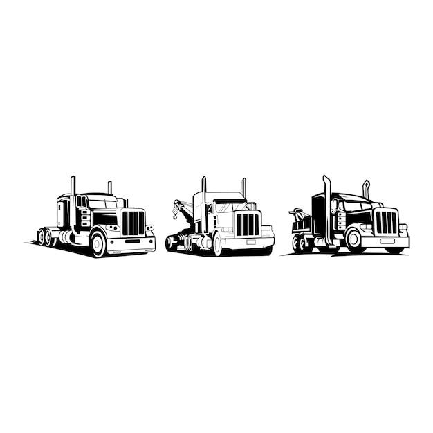Trasporto di camion rimorchio logo - furgone di ispirazione vettoriale Vettore Premium