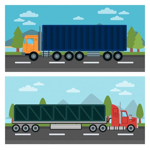 Trasporto di merci. camion e rimorchio. camion di consegna. trasporto logistico. modo di trasporto. cargo truck. illustrazione vettoriale stile piatto Vettore Premium