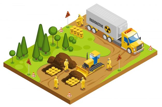 Trasporto e smaltimento in sicurezza di rifiuti tossici radioattivi per lo stoccaggio e la composizione isometrica nel deposito geologico sotterraneo Vettore gratuito