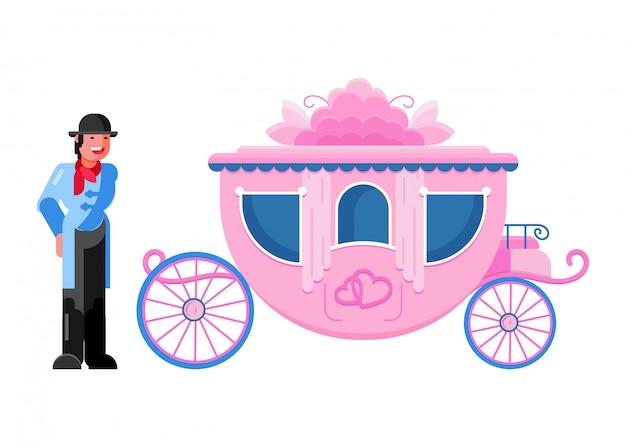 Trasporto in carrozza vettore trasporto vintage con ruote antiche e set di trasporto antico di carattere cocchiere reale per cavallo e carro Vettore Premium
