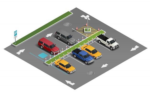 Trasporto parcheggio composizione isometrica Vettore gratuito