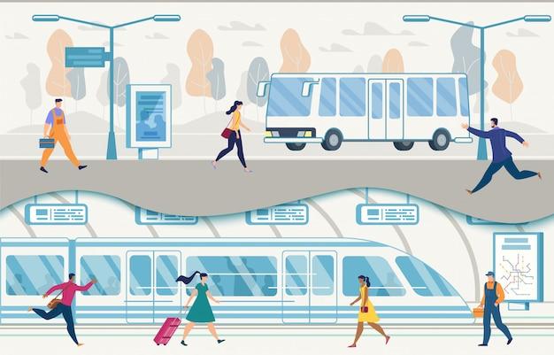 Trasporto pubblico della città con autobus e metropolitana vettoriale Vettore Premium
