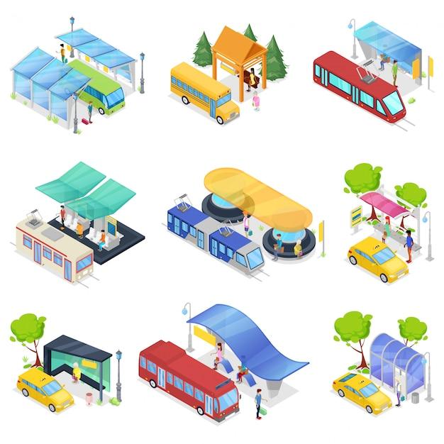 Trasporto pubblico isometrico stabilito della città 3d Vettore Premium