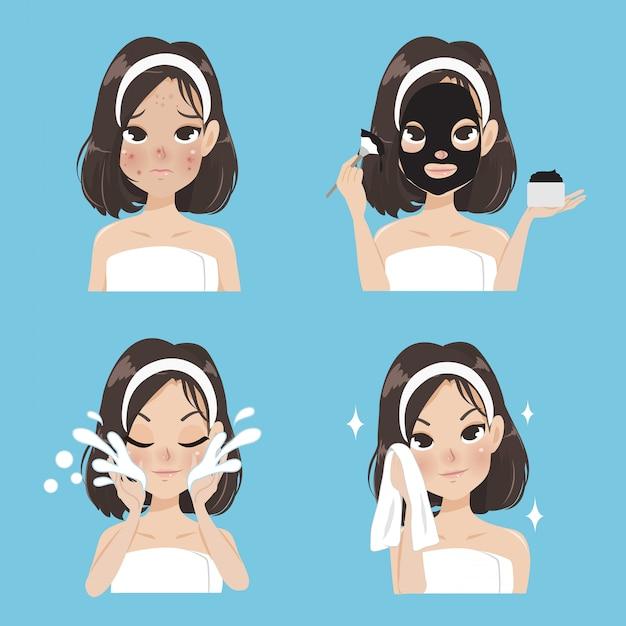 Trattamento maschera per donne. Vettore Premium