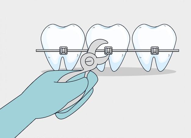 Trattamento sanitario dei denti con estrattore dentale Vettore gratuito