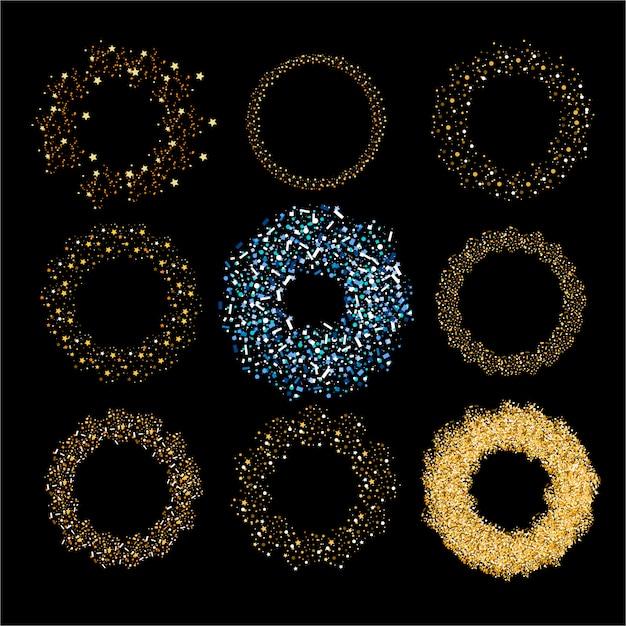 Tratti di pennello glitter sparsi coriandoli oro scintillii festa trama dorato illustrazione bagliore vacanza pennello cerchio luminoso polvere grunge. Vettore Premium