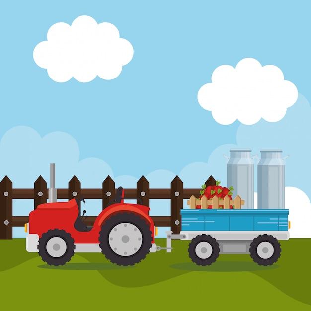 Trattore nella scena agricola Vettore gratuito