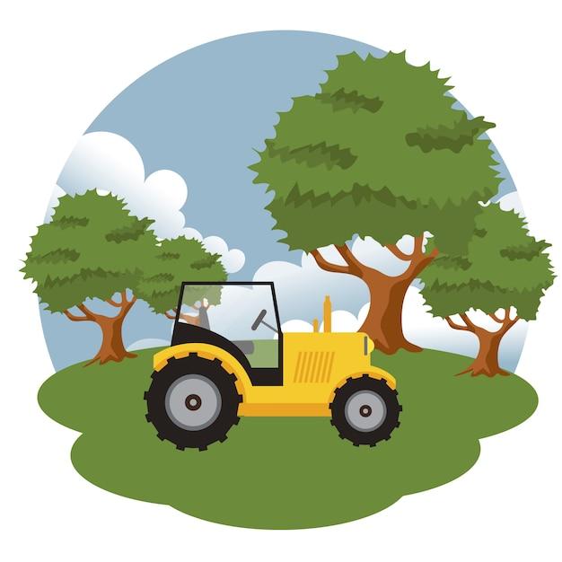 Trattore nella scena dell'azienda agricola Vettore Premium