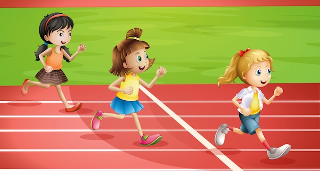 Tre bambini che fanno jogging Vettore gratuito