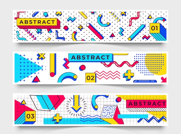 Tre bandiere orizzontali. elementi di stile di memphis con forme geometriche semplici e multicolori. forme con triangoli, cerchi, linee Vettore Premium