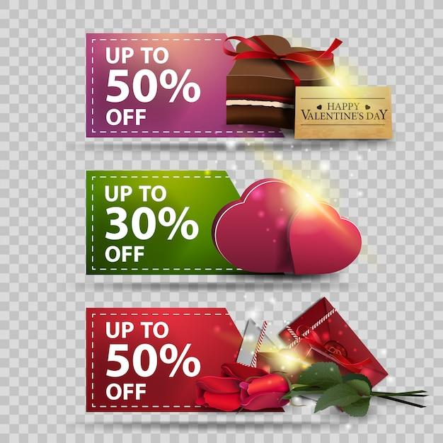 Tre banner di auguri per san valentino con lettere d'amore, fiori, cuori e cioccolatini Vettore Premium