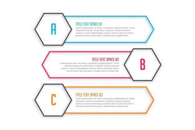 Tre banner di stile linea infografica Vettore gratuito