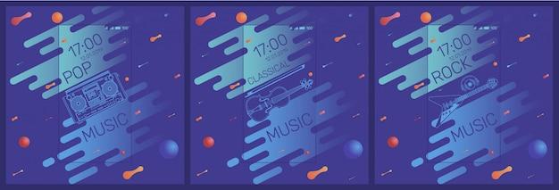 Tre banner musicali per il telefono Vettore Premium