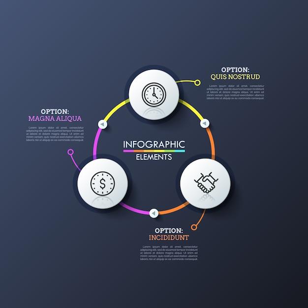 Tre cerchi bianchi con icone lineari all'interno collegate da linee luminose e pulsanti di riproduzione. layout design moderno infografica. Vettore Premium