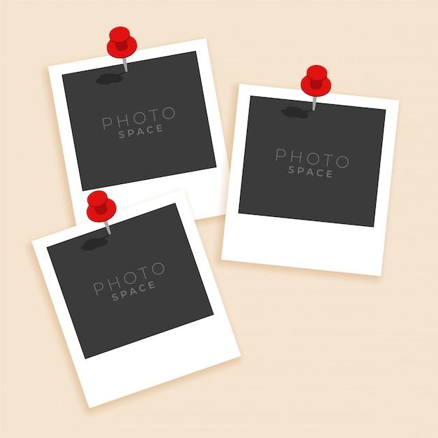 Tre cornice per foto vecchio stile Vettore gratuito