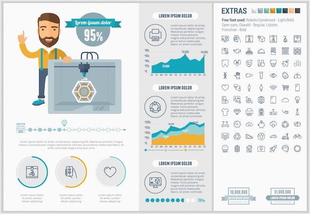 Tre d stampa design piatto infografica modello e set di icone Vettore Premium