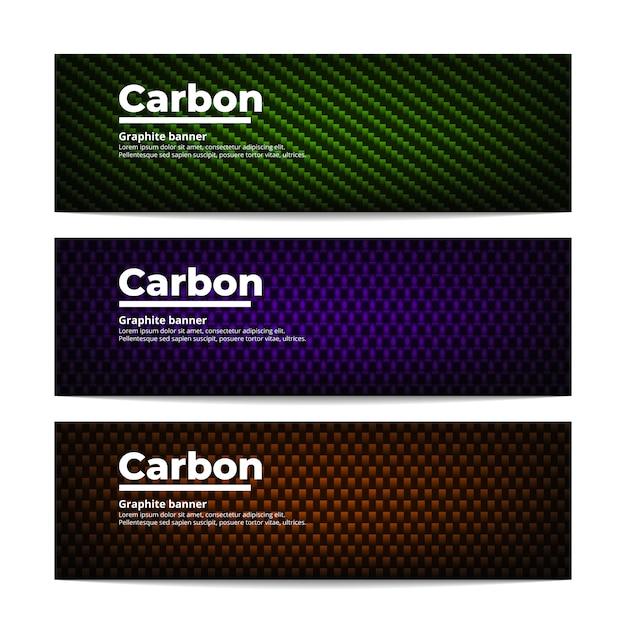 Tre diversi modelli di banner in fibra di carbonio. grafite colorata Vettore Premium