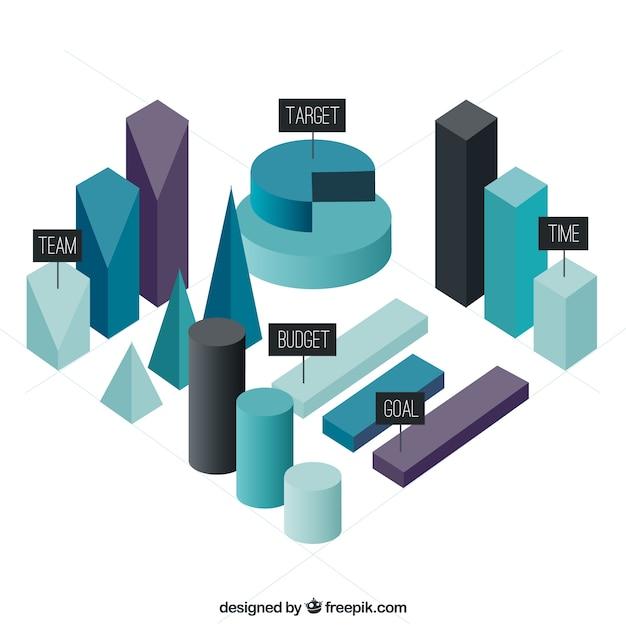 Tre elementi infographic tridimensionali scaricare for Immagini tridimensionali gratis