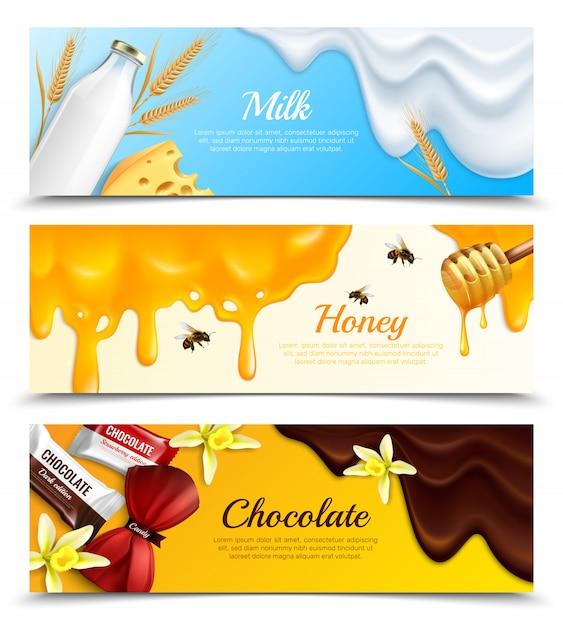 Tre insegne orizzontali di schizzi di melma gocciola l'insegna realistica messa con l'illustrazione di vettore del titolo del miele e del cioccolato del latte Vettore gratuito