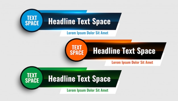 Tre moderni design del modello di banner inferiore inferiore Vettore gratuito