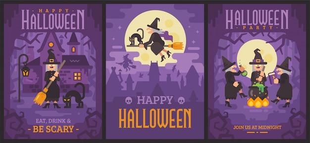 Tre poster di halloween con vecchie streghe Vettore Premium