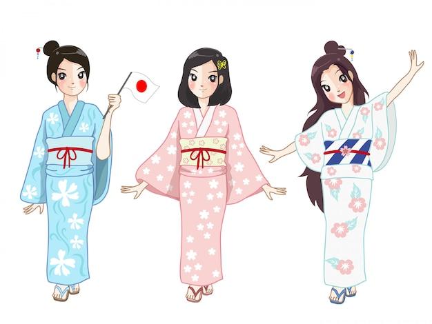 Tre ragazze giapponesi che indossano un abito da donna in giappone ad un festival. Vettore Premium